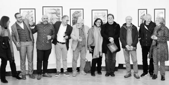 Denis Taylor and Shaun Smyth with eight artists fopr the painters TUBES sponsored exhibition