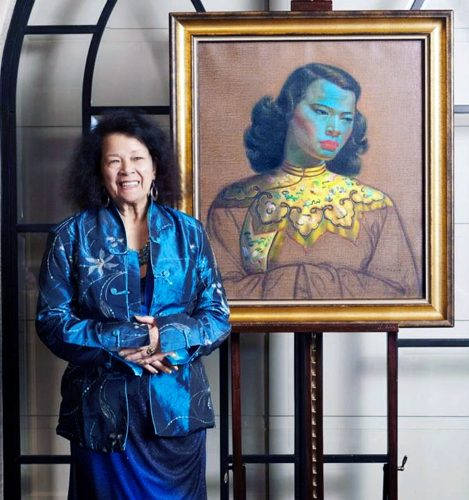 Monika Pon-su-san, the model for the Chinese girl seen here in 2016 - reunited with the painting the first time since 1951.
